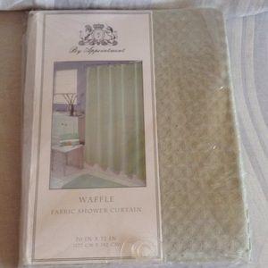 Brand new fabric shower curtain. Sage green